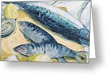 Mackerel With Oysters And Lemons, 1993 Oil On Paper Greeting Card