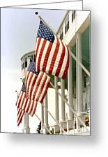 Mackinac Island Michigan - The Grand Hotel - American Flags Greeting Card