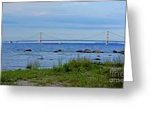 Mackinaw Bridge At Dusk Greeting Card