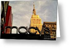 Macy's With Empire State Building - Famous Buildings And Landmarks Of New York City Greeting Card