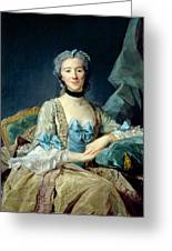 Madame De Sorquainville, 1749 Oil On Canvas Greeting Card