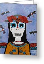 Madame Dragonfly Day Of The Dead Greeting Card