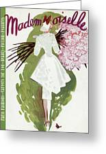 Mademoiselle Cover Featuring A Woman Carrying Greeting Card