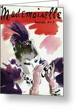 Mademoiselle Cover Featuring A Woman Looking Greeting Card