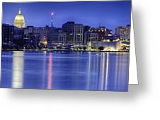 Madison Skyline Reflection Greeting Card by Sebastian Musial
