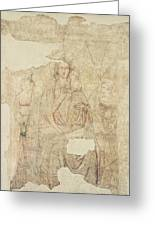 Madonna And Child Enthroned, Drawing For A Fresco Sinopia On Paper Greeting Card