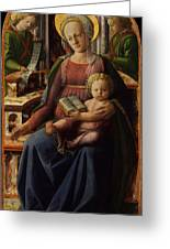 Madonna And Child Enthroned With Two Angels Greeting Card