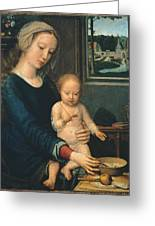 Madonna And Child With The Milk Soup Greeting Card