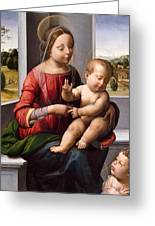 Madonna And Child With The Young Saint John The Baptist Greeting Card