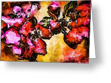 Magenta Flowers  -- Cubism Greeting Card
