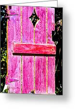 Magenta Painted Door In Garden  Greeting Card