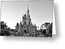 Magic Kingdom Castle In Black And White Greeting Card