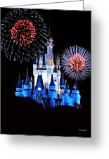 Magic Kingdom Castle In Blue With Fireworks Greeting Card