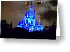Magic Kingdom Castle In Deep Blue With Fireworks Greeting Card