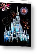 Magic Kingdom Castle In Frosty Light Blue With Fireworks 06 Greeting Card