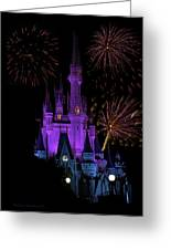 Magic Kingdom Castle In Purple With Fireworks 02 Greeting Card