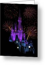 Magic Kingdom Castle In Purple With Fireworks 03 Greeting Card