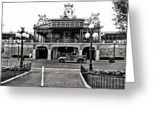 Magic Kingdom Train Station In Black And White Walt Disney World Greeting Card