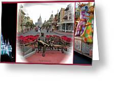 Magic Kingdom Walt Disney World 3 Panel Composite Greeting Card