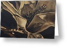 Magnolia Blossom In Sepia Greeting Card