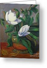Magnolias On Brass Greeting Card by Lilibeth Andre