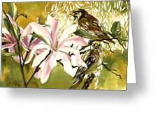 Magnolias With Sparrows Greeting Card