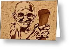 Mahatma Gandhi Coffee Painting Greeting Card