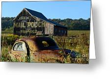 Mail Pouch Barn And Old Cars Greeting Card