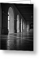 Main Building Arches University Of Texas Bw Greeting Card