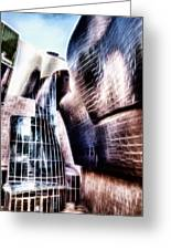 Main Entrance Of Guggenheim Bilbao Museum In The Basque Country Fractal Greeting Card