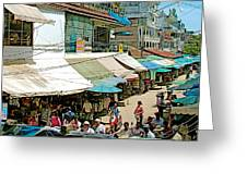 Main Street Marketplace In Tachilek-burma Greeting Card