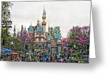 Main Street Sleeping Beauty Castle Disneyland 01 Greeting Card