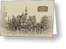 Main Street Sleeping Beauty Castle Disneyland Heirloom 03 Greeting Card