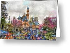 Main Street Sleeping Beauty Castle Disneyland Photo Art 02 Greeting Card