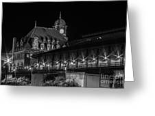 Main Street Station In Black And White Greeting Card