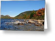 maine 1 Acadia National Park Jordan Pond in Fall Greeting Card