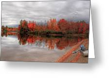 Maine Lake And Boat Greeting Card