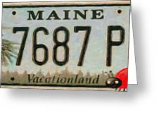 Maine License Plate Greeting Card
