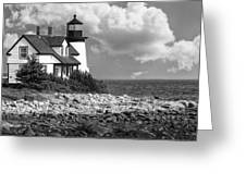 Prospect Harbor Point Light ... Bw Greeting Card