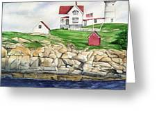 Maine Lighthouse Watercolor Greeting Card