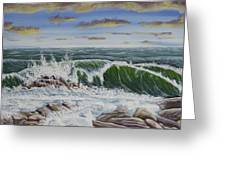 Crashing Waves At Pemaquid Point Maine Greeting Card