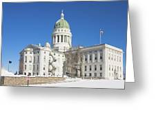 Maine State Capitol Building In Winter Augusta Greeting Card
