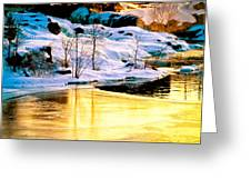 Maine Winter Along The Androscoggin River Greeting Card