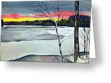 Maine Winter Sunset Greeting Card