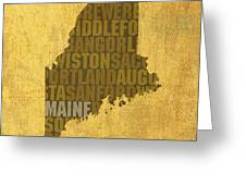 Maine Word Art State Map On Canvas Greeting Card