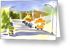 Main Street In Evening Shadows Greeting Card