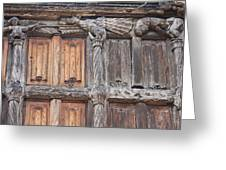 Maison De Bois Macon - Detail Wood Front Greeting Card