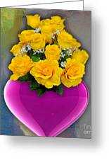 Majenta Heart Vase With Yellow Roses Greeting Card