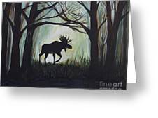 Majestic Bull Moose Greeting Card by Leslie Allen