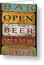 Bar Open-license Plate Art  Greeting Card